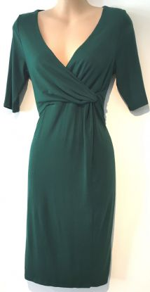 H&M MAMA FOREST GREEN TWIST CHEST NURSING DRESS SIZE S 10